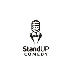 stand up comedy logo smiling mic bow tie suit vector image