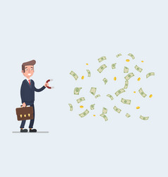 stock of a businessman with a magnet to vector image