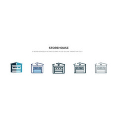 Storehouse icon in different style two colored vector
