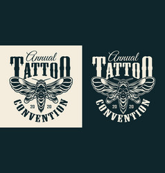Tattoo salon vintage monochrome print vector