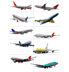 Ten passenger airplanes vector