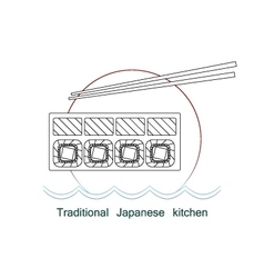 Traditional Japanese kitchen mono line logo vector