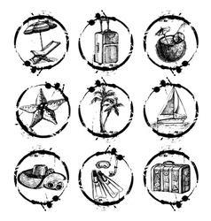 Travel and vacation stamp collection vector
