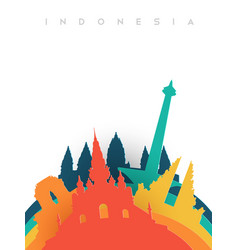 Travel indonesia 3d paper cut world landmarks vector
