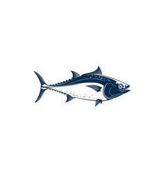 tuna predatory schooling fish isolated bluefin vector image