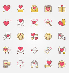 valentines day colored icons set love vector image