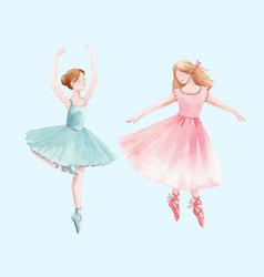 Watercolor retro cute dancing girls ballet vector