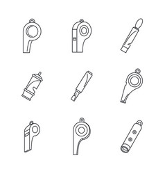 Whistle coaching blow icons set outline style vector