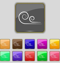 Wind icon sign set with eleven colored buttons for vector