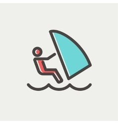 Wind surfing thin line icon vector image