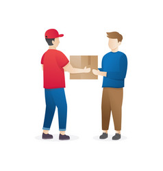 young man courier delivery service vector image