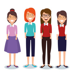 Young women avatars characters vector