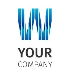 Abstract blue logo W vector image vector image