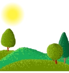 Abstract landscape with sun ant trees vector