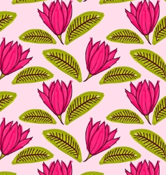 Big pink flower with green leaf vector image vector image