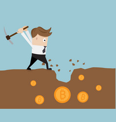 businessman mining for bitcoin vector image