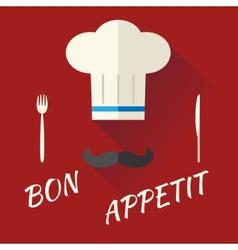 Chief Cook Symbol Toque Cuisine Hat with Mustache vector image