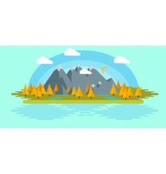 Flat design nature landscape with sun vector image vector image