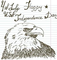 Hand drawn sketch American bald eagle text happy vector image vector image