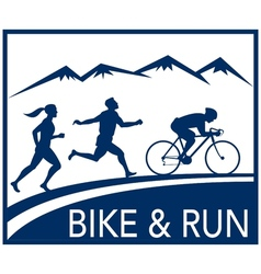 marathon runner bike cycle run race vector image vector image