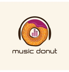 music donut concept design template vector image vector image