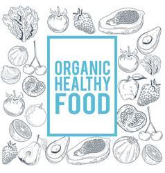 organic healthy food hand draw vector image