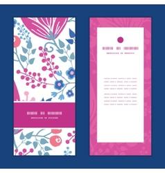 pink flowers vertical frame pattern vector image