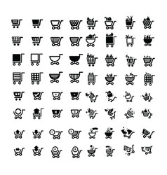 shopping cart icons design 64 item vector image vector image