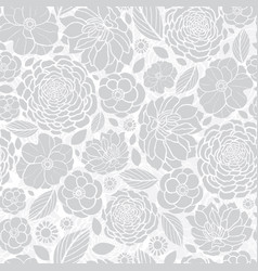 silver grey white mosaic flowers seamless vector image vector image
