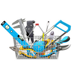 supermarket basket with hand tools vector image vector image