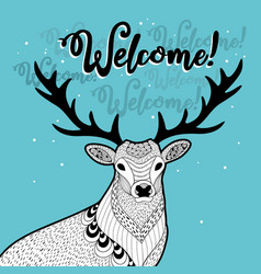 winter print with funny deer vector image