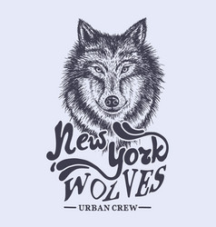 wolf new york label vector image
