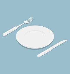 Cutlery isometrics 3d Empty plate Knife and fork vector image