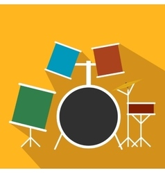 Drum set flat icon vector image vector image