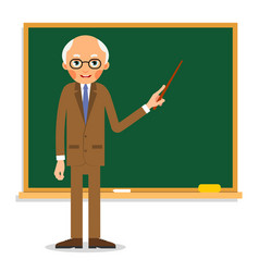 elderly professor stands in front of blackboard vector image