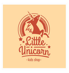 kids shop logo with pink unicorn cute vector image