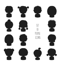 Set of monochrome silhouette people icons Funny vector image vector image