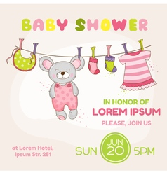 Baby Mouse Shower Card - with place for your text vector image vector image