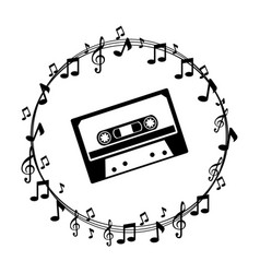 border musical notes with cassette tape vector image