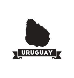 Flat icon in black and white map of uruguay vector