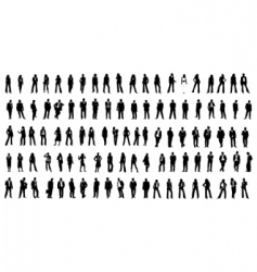 hundred silhouette people vector image