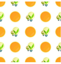 seamless pattern with sun and light bulbs vector image vector image