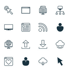 set of 16 web icons includes mouse save data vector image vector image
