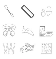 sports equipment for climbing line icons of set vector image vector image