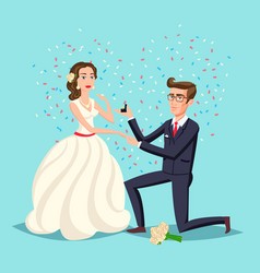 wedding and marriage couple design proposal vector image