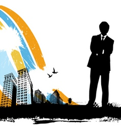business man with city vector image vector image