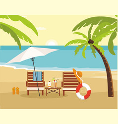Chaise lounge and umbrella on beach summer vector
