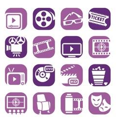 color cinema icons setjpg vector image
