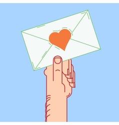 envelope in hand valentines vector image vector image