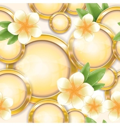 gold frames with frangipani vector image vector image